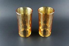 Jeannette Glass Hex Optic Honeycomb Marigold Iridescent Set of 2 Tumblers - $9.90