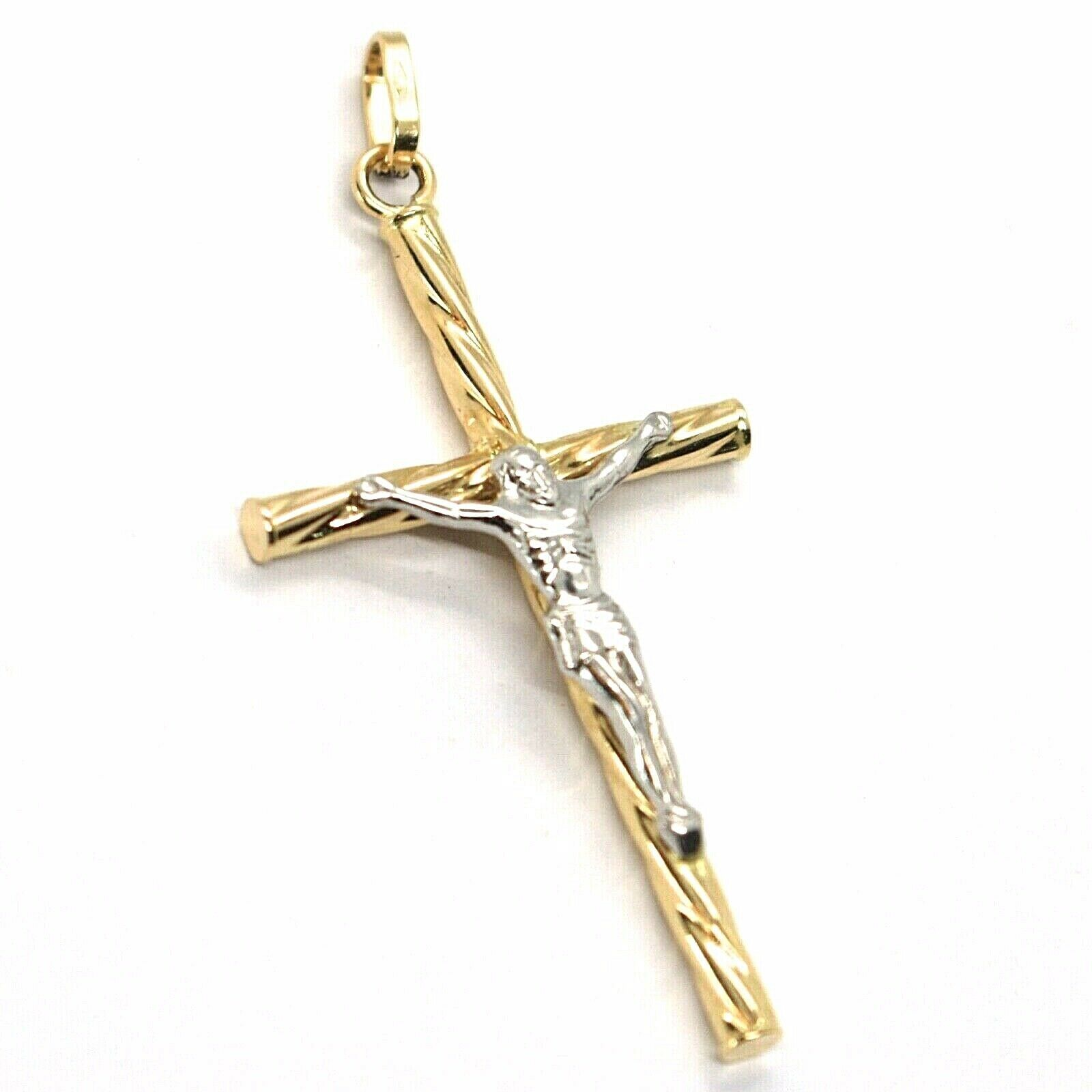 18K YELLOW & WHITE GOLD TWISTED TUBE CROSS PENDANT, JESUS CHRIST, 1.57 INCHES