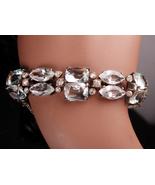Rare Art deco rock crystal bracelet / Antique sterling faceted open back... - $425.00