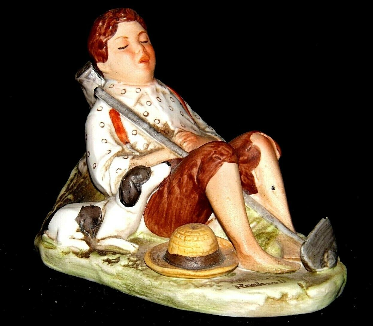 """""""Boy with his Dog Hoeing the Garden"""" by Norman Rockwell Figurine AA19-1663 Vin"""