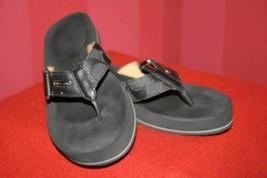 Coach Jada Black Signature Leather Thong Flip Flop Sandals Buckle Size 6... - $20.46