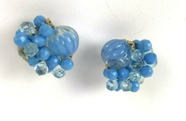 Vintage Clip Earrings Blue Plastic Bead Cluster Hong Kong Geometric Mod - $11.87