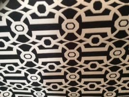 Black and cream off white WOVEN COTTON GEOMETRIC upholstery fabric 16-14-20-0711 - $12.27