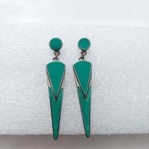 Turquoise enamel earrings H80 vintage 1980s color block geometric  - $9.85