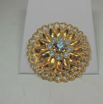 Vintage Gold Tone Floral Pin Brooch  Blue Rhinestones - $12.86