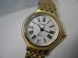 "L54, CVP, Ladies Gold Tone Bracelet Watch, White face, Date, 8"" Long - $15.83"