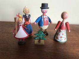 Lot of 5 ~SWEDISH WOOD Dolls,  DALA FLODA, Smaland, Xmas tree, Man top hat - $31.68
