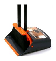 Dust Pan & Broom Combo Handle Upright Stand Up Broom and Dustpan Holder ... - $41.99