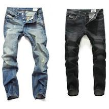 2018 New Large Plus Size 42 Blue Black Men Jeans Slim Fit Straight Denim Pants M - $36.72