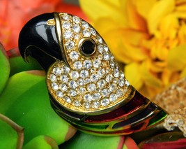 Vintage Parrot Bird Brooch Pin Rhinestones Enamel Colorful Figural - $24.95