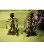 Vintage Blue Crystal Glass & Antiqued Brass Candlestick Candleabra Pair (2) - $45.95