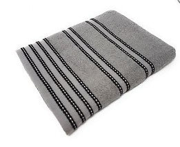 10 X Striped 100% Combed Cotton Soft Absorbant Black Grey Bath Sheet Towel - $87.65