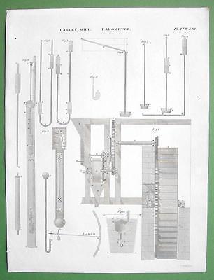BAROMETERS Toricelli's Vacuum - 1830 Antique Print Engraving