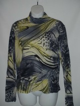 St John Leopard Animal Print Turtleneck Top Stretch Gray Yellow Size SMA... - $37.25