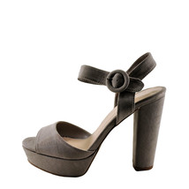 Qupid Iconic 01 Taupe Women's Faux Suede Open Toe Chunky Heel - $31.95