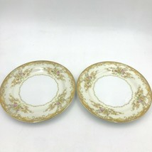 "2 Noritake M China Olivia Salad Plates 7-5/8"" Gold Rim Scroll Pink Floral DH4 - $44.95"