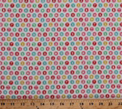 Cotton Typewriter Numbers Keys Circles Cotton Fabric Print BTY M703.26 - $10.95