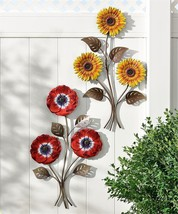 Set of 2 Designs -Sunflower & Peony Flower Wall Decor Each w 3 Flowers per Stem