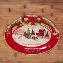 Vintage Christmas Dish, Holiday Fitz & Floyd Sentiment Tray Home Warms the Heart