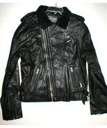 New NWT Mens Designer Slate & Stone Leather Shearling Moto Jacket XL Bla... - $759.60