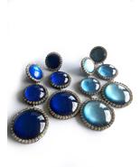 Blue Long Earrings, Long Earrings, Round Earrings, Glass Earrings, Deep ... - $38.00