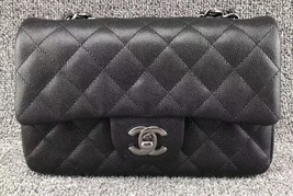 BRAND NEW AUTHENTIC CHANEL 2018 BLACK CAVIAR LARGE MINI RECTANGULAR FLAP... - $4,199.99