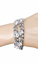 Chain Bracelet Bling Clear Crystal Casual Chic, Hip Hop, Urban, Silver Tone - $14.20