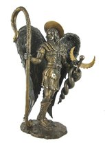 St. Saint Raphael Archangel Statue With Caduceus Healing Staff Bronze Fi... - $65.33