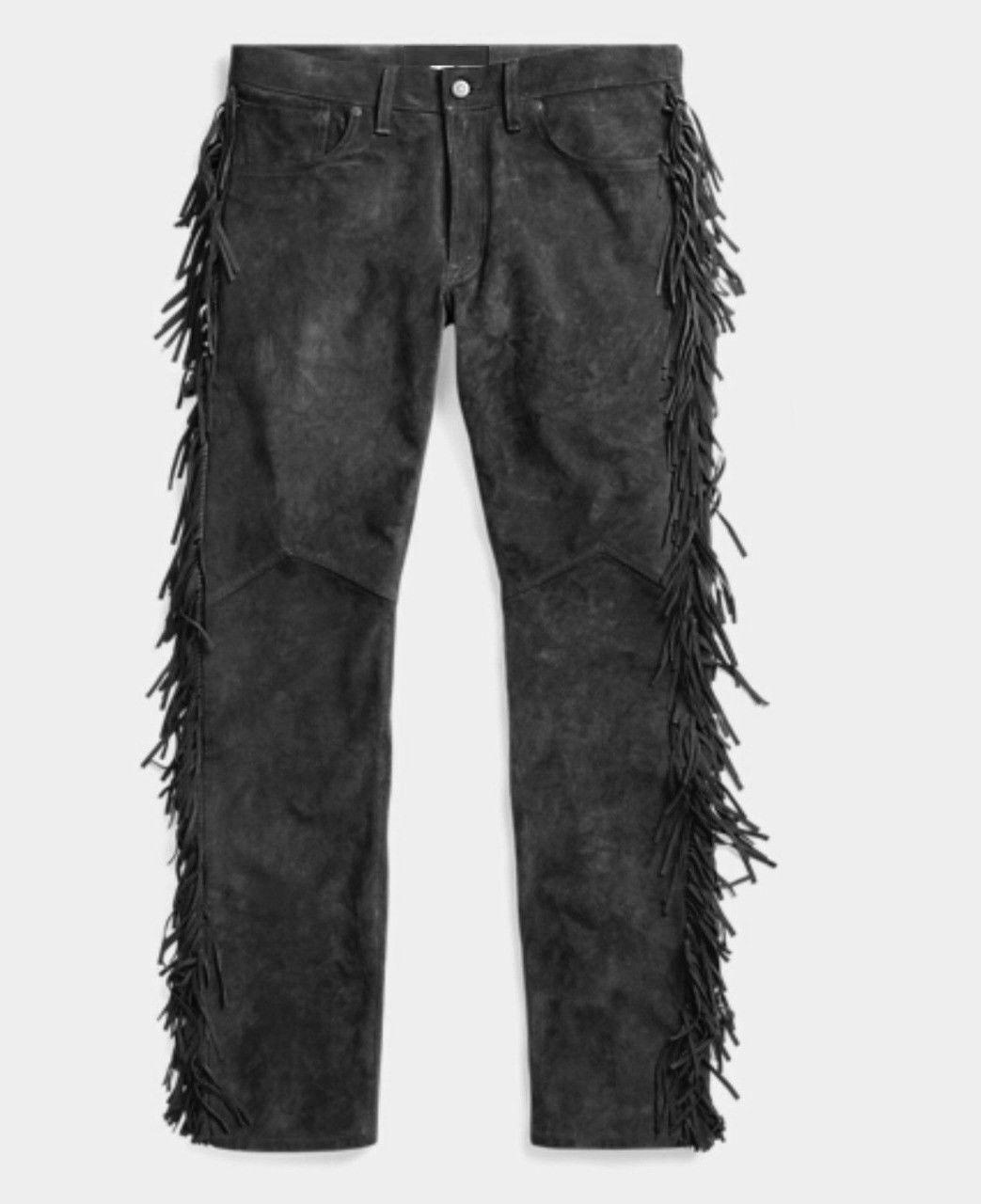 Men's New Native American Buckskin Smoky Goat Suede Leather Fringes Pants WP1B image 3