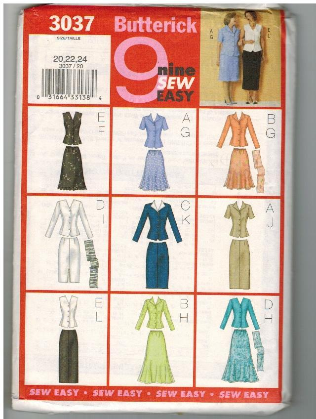 Butterick Uncut Sewing Pattern #3037 Misses Top Skirt Scarf Sizes 20 22 24