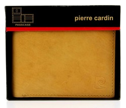 NEW NIB PIERRE CARDIN MEN'S LEATHER CREDIT CARD WALLET PASSCASE TAN 5979-04