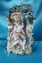 Vintage porcelain Victorian woman figurine flute playing - $39.99