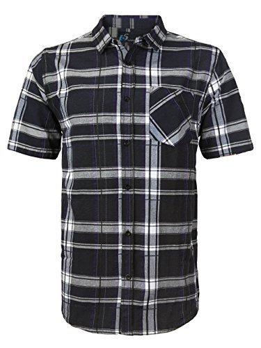 Men's Plaid Checkered Button Down Casual Short Sleeve Dress Shirt (Medium, Black