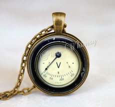 VOLTAGE METER Pendant Necklace Keychain Jewelry Steampunk Antique Dial A... - $11.95