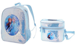 Disney Frozen 2 Elsa Anna Large Sequined Backpack & Matching Lunchbox NWT - $44.54