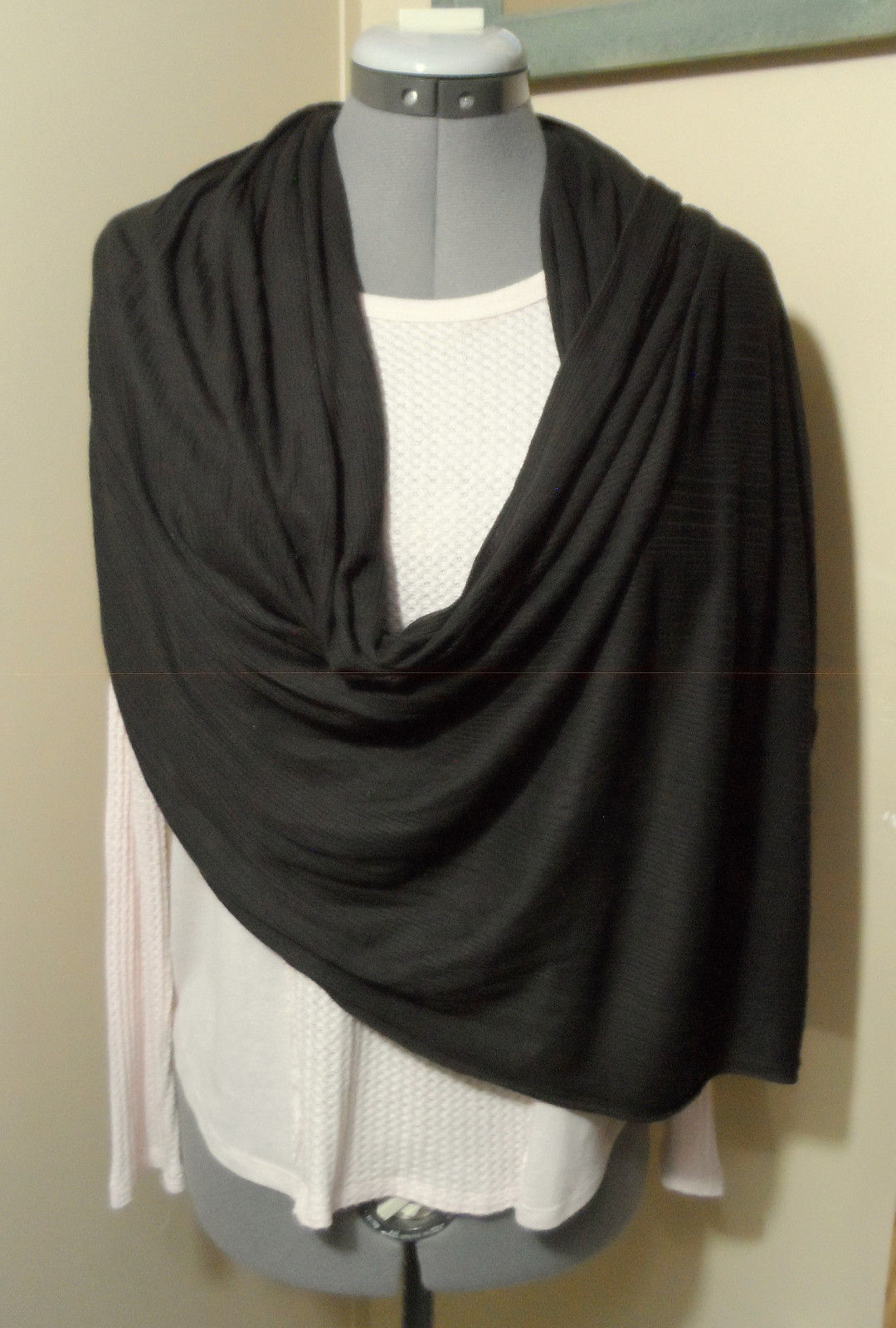 "Primary image for Multi-way Cowl Infinity Scarf Brown stretch knit 44""x112"" Wrap Shawl semi sheer"