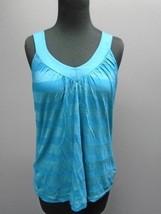 SPLENDID Blue V Neck Cotton Blend Sleeveless Casual Basic Top Sz M CC057 - $35.63