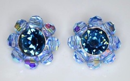 VTG CROWN TRIFARI Silver Tone Blue AB Crystal Rhinestone Clip Earrings - $99.00
