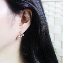Rain Drop Double Sided Made With Swarovski Crystal Dangle Earrings 925 Silver image 9