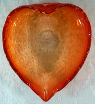 Murano Art Glass Heart Shaped Bowl or Dish with Controlled bubbles  - $25.99