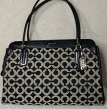 COACH Black White Madison Op Art Sateen Kimberly Carryall Handbag - $109.99