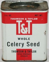 Vintage spice tin THOMPSON and TAYLOR T and T Whole Celery Seed Chicago ... - $9.99