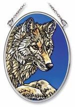 "Wolf Sun Catcher 3.25"" x 4.5"" AMIA Glass Small Oval New Blue  - €16,22 EUR"