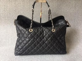 AUTHENTIC CHANEL BLACK QUILTED CAVIAR LARGE 2-WAY SHOPPING TOTE BAG Silver HW image 2