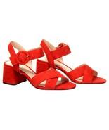 J Crew Women's Suede Penny Sandals Heels Pumps Open Toe 8.5 Bright Ceris... - $73.59