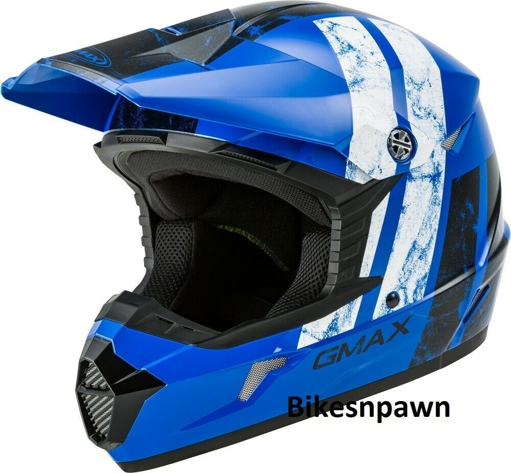 New Adult XL Gmax GM46 Dominant Blue/Black/White Offroad Helmet DOT