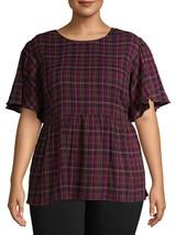 Terra & Sky Women's Plus Flutter Baby Doll Top 0X (14W) Purple Oxford Mu... - $20.78
