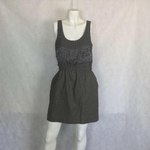 J Crew Dress Bubble Cocktail Party Prom embellished gray silk wool size 8