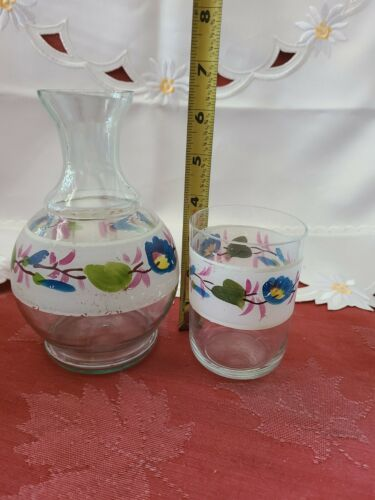 Vintage Flower Clear Glass Hand Painted Nightside Carafe and Tumbler Set