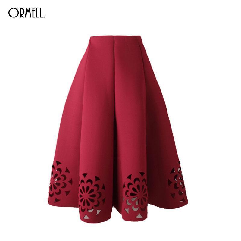 Ormell midi skirt 2017 elegant vintage floral crochet black white red women high waist a line